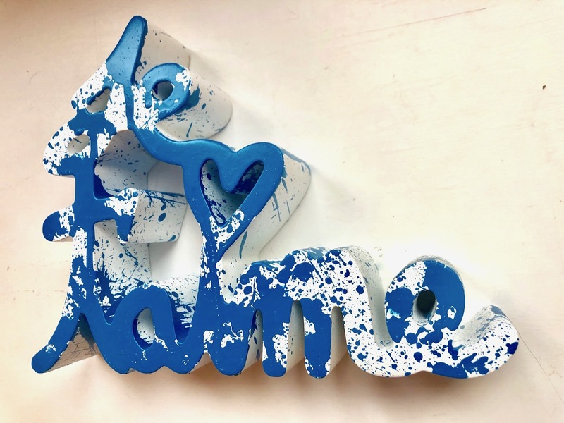 MR BRAINWASH - Scultura Volume - Je t`aime Splash blue