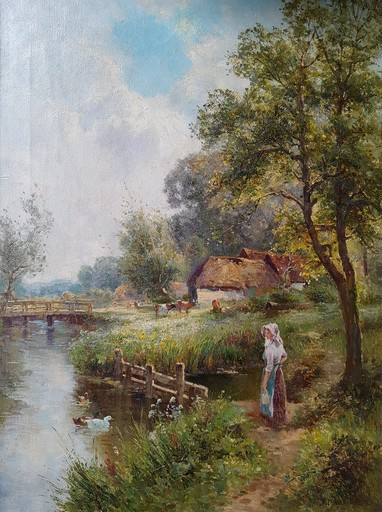Ernest Charles WALBOURN - Painting - Feeding the Swans