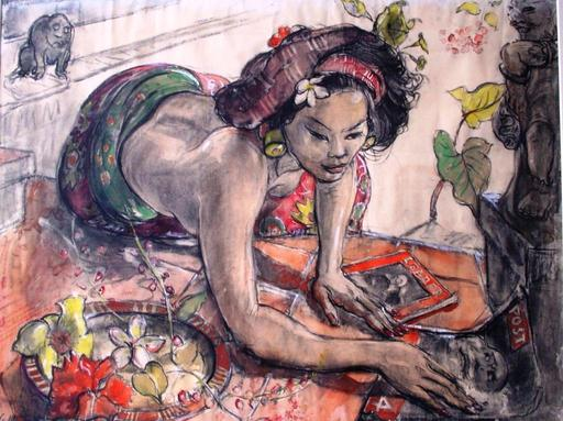Adrien Jean LE MAYEUR DE MERPRES - Painting - Ni Polok with magazines
