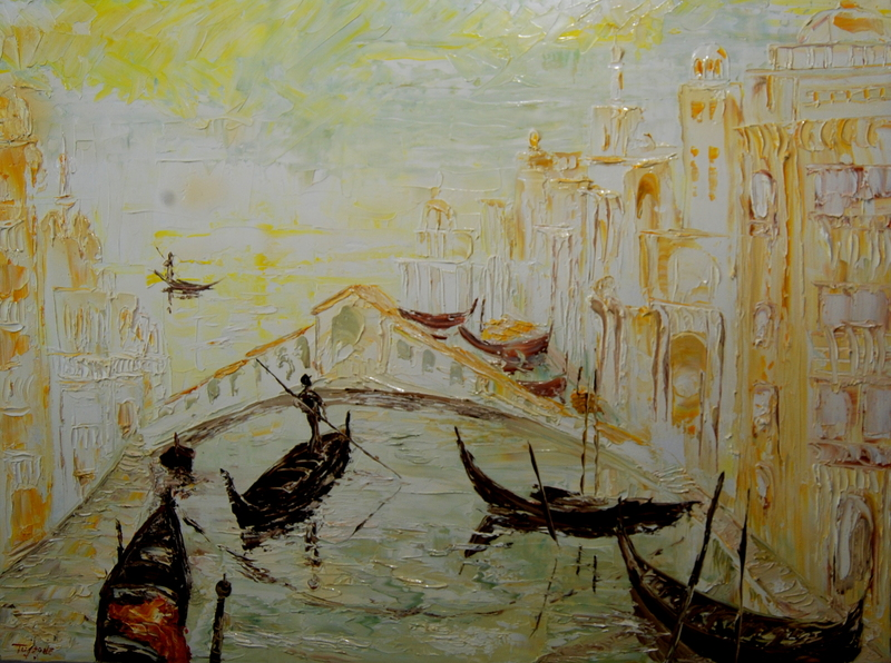 Serge Louis TUQUET - Pittura - Venise au couchant