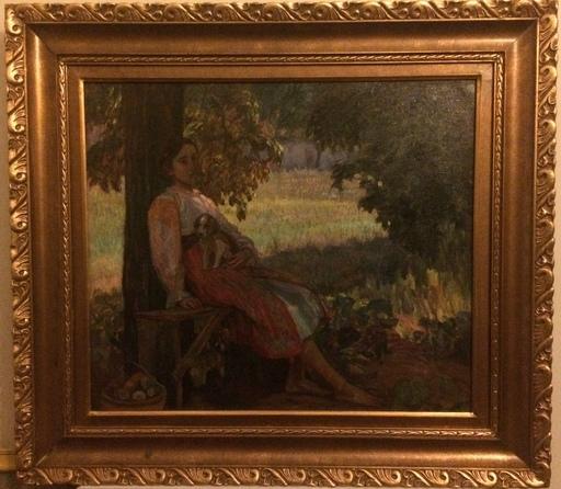 Samuel MÜTZNER - Pintura - Jeune paysanne er son chien