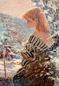 Eugène BEGARAT - Peinture - Sous le parasol