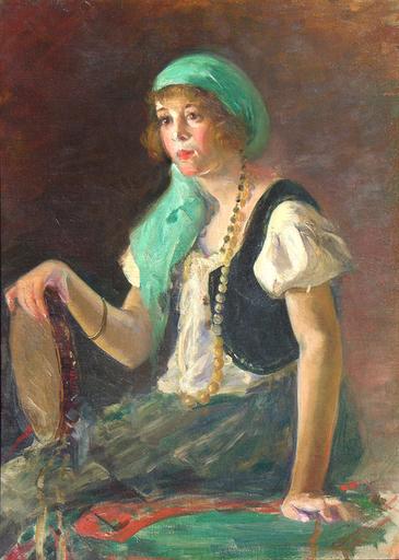 Leopoldo ROMAÑACH - Peinture - Gitana (Gypsy)