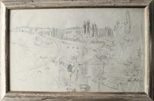 Jean DUFY - Dibujo Acuarela - Scène de ferme en Touraine II