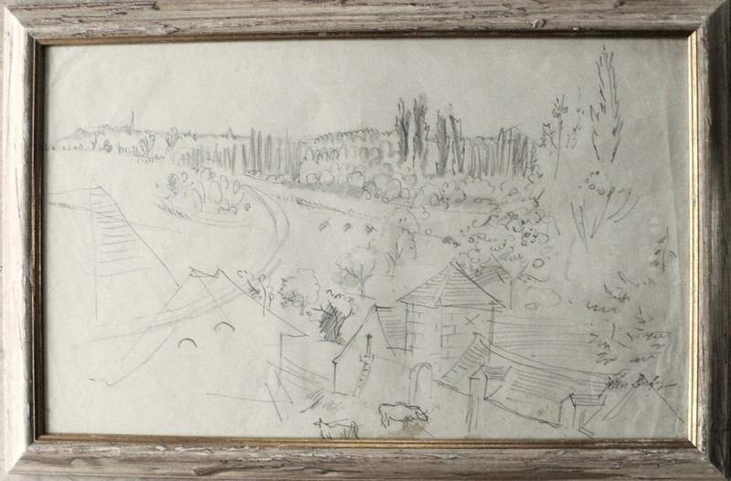 Jean DUFY - Disegno Acquarello - Scène de ferme en Touraine II