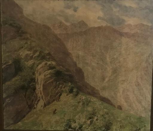 Otto FIKENTSCHER - Painting - Alpenlandschaft mit Gämsen