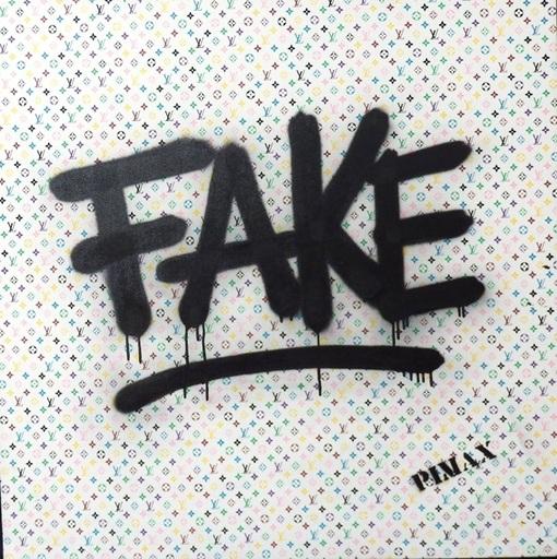 PIMAX - Painting - Fake (Monogramme blanc), 2014