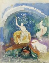Odilon REDON - Drawing-Watercolor - Apollon chevauchant un monstre vert