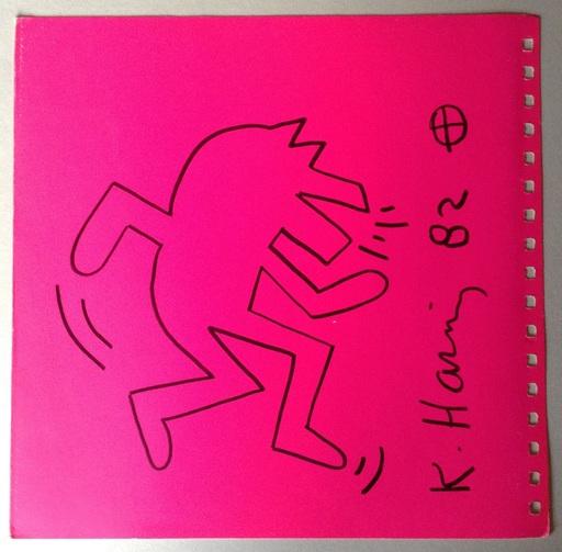 Keith HARING - Dessin-Aquarelle - Chien dansant