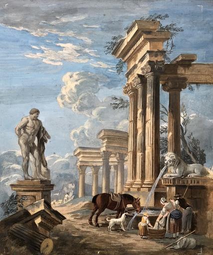 Pierre-Antoine DEMACHY - Disegno Acquarello - Ruines Antiques Animées De Personnages