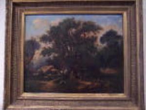 Hippolyte PRADELLES - Gemälde - scène de chasse à cour en forêt