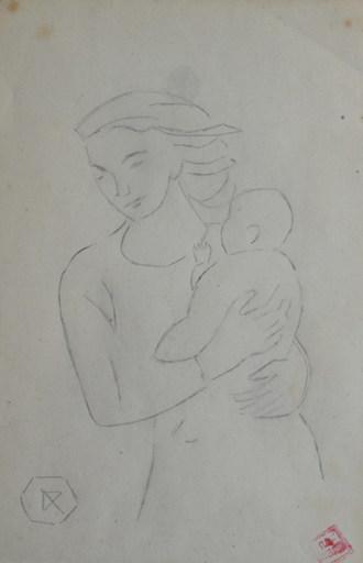 Ramiro ARRUE - Dibujo Acuarela - Young woman carrying a child