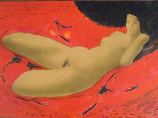 """Alain BONNEFOIT - Estampe-Multiple - """"Nu sur fond rouge""""1990."""
