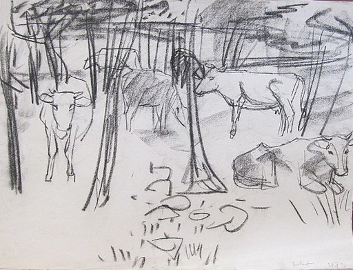 Erich HARTMANN - Drawing-Watercolor - Kühe im Wald.