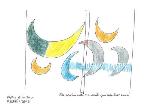 Reine BUD-PRINTEMS - Zeichnung Aquarell - Les croissants ne sont pas des bananes