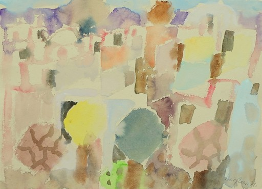 Eduard BARGHEER - Drawing-Watercolor - Häuser und Gärten im Frühling