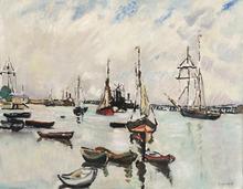 Louis VALTAT - Pittura - Dans le port de Ouistreham