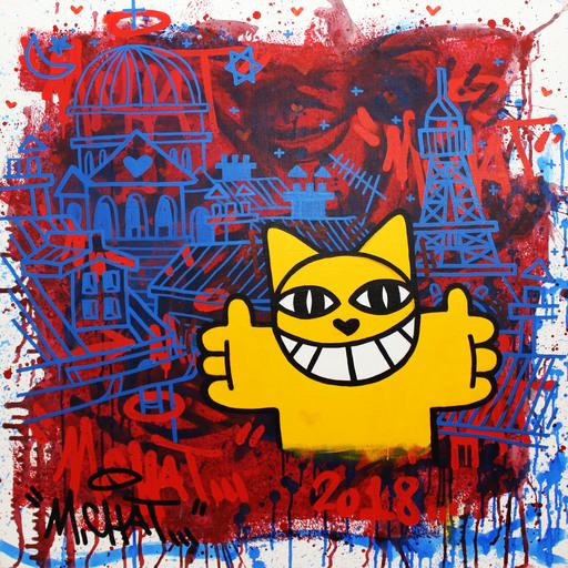 MONSIEUR CHAT - Painting - Au coeur des trois religions