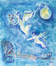 Moshé Elazar CASTEL - Drawing-Watercolor - Angels (Homage to Marc Chagall)