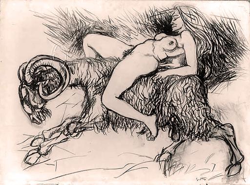 Renato GUTTUSO - Disegno Acquarello - Segni zodiacali: Ariete
