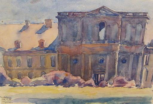 Heinrich STEGEMANN - 水彩作品 - Säulengeschmückte Hausfassade