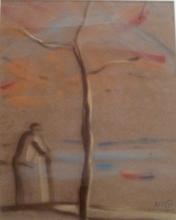 Kaete Ephraim MARCUS - Drawing-Watercolor - Man by the Kinnert Lake