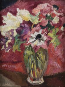 Louis VALTAT - Peinture - Bouquet d'anémones au vase de cristal