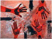 Rufino TAMAYO - Estampe-Multiple - Manos en rojo