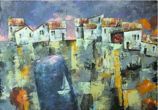 """Irina BOCHAROVA - Painting - abstract cityscape """"City by the sea. Red car"""""""