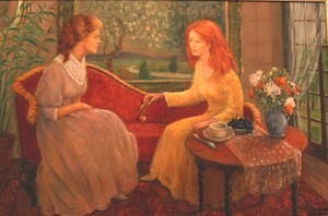Monique BAUDAUX - Painting - Girls Talk