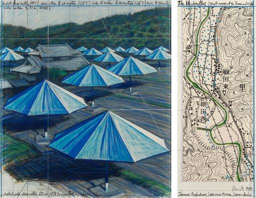 克里斯托 - 水彩作品 - The Umbrellas, Joint Project for Japan & USA
