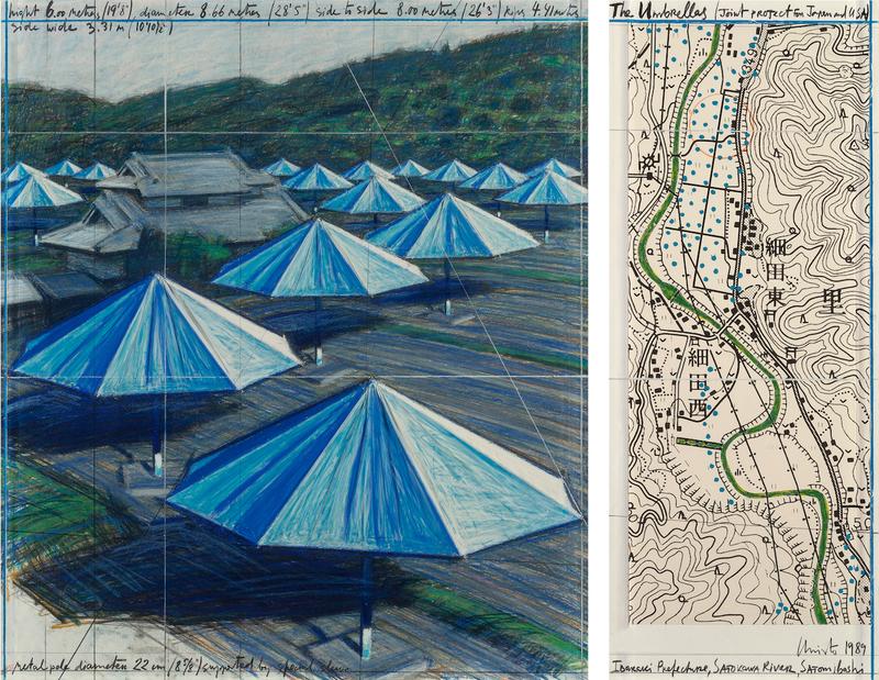 CHRISTO - Dibujo Acuarela - The Umbrellas, Joint Project for Japan & USA