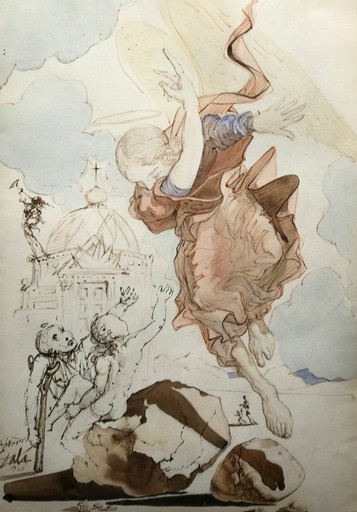 Salvador DALI - Disegno Acquarello - The Archangel Raphael (AKA The Angel of the Rock)