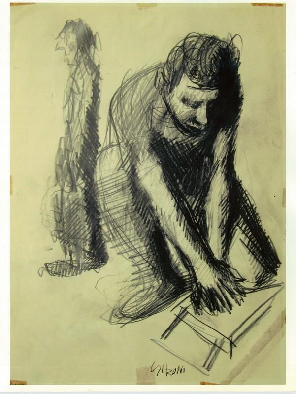 Mario SIRONI - Drawing-Watercolor - autoritratto