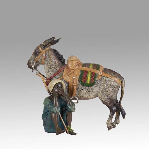 Franz BERGMANN - Sculpture-Volume - Boy & Donkey
