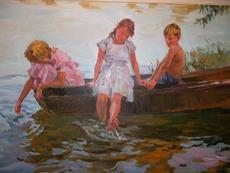 Youri KROTOV - Pintura - Canotage à Pessac