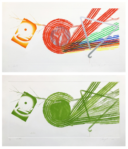 James ROSENQUIST - Grabado - SPOKES AND SPOKES: 2 STATE MATCHING DYPTIC