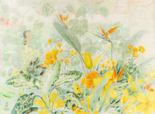LE PHO - Painting - Woman in a Garden with Crane Flowers