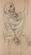 """Maurice DENIS - Drawing-Watercolor - Etude pour la muse des """"Béatitudes"""" de César Frank"""