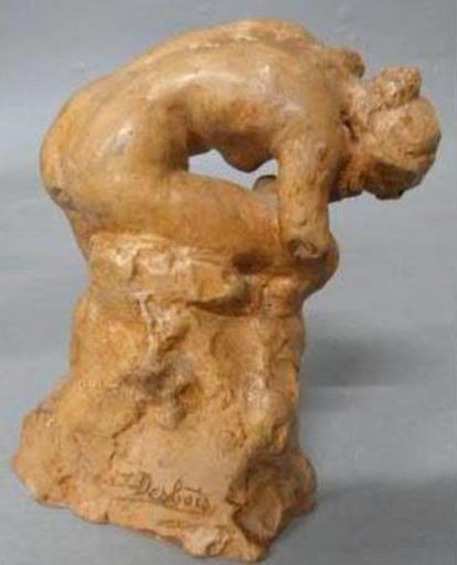 Jules DESBOIS - Escultura - Nu  au rocher.