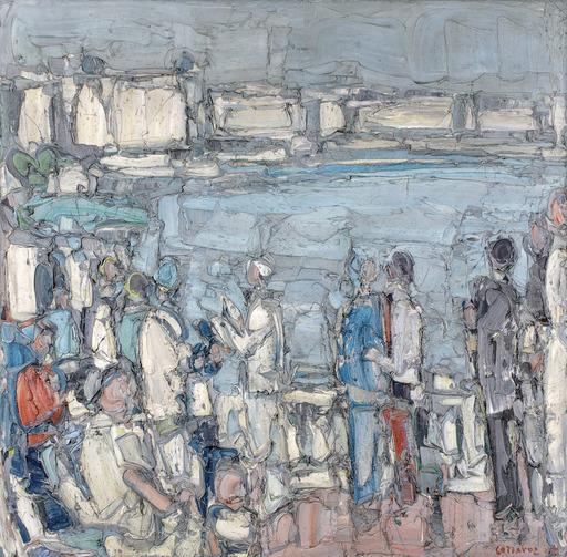 アンドレ・コタボ - 绘画 - Personnages devant la mer