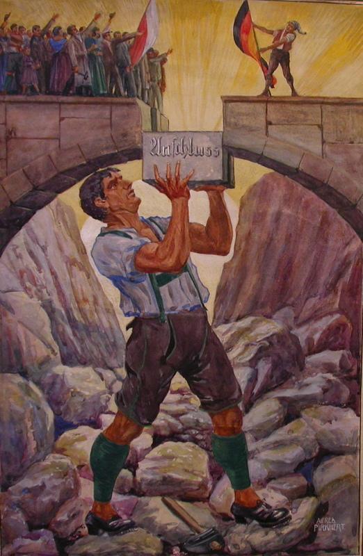 Alfred PIRKHERT - Dibujo Acuarela - Anschluss (Österreich-Deutschland 1938)