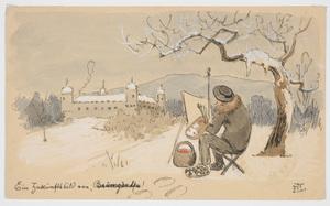 "Ludwig Hans FISCHER - Dibujo Acuarela - ""Artist on plein-air"" drawing"