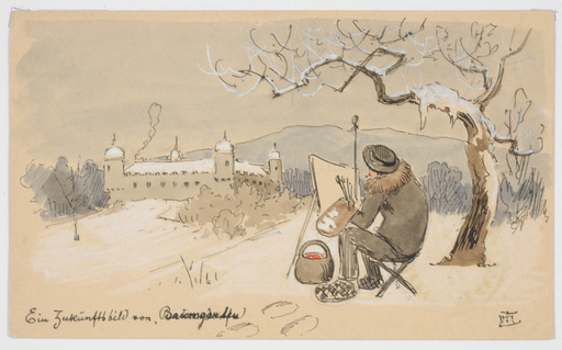 "Ludwig Hans FISCHER - Dibujo Acuarela - ""Artist on plein-air"" drawing"