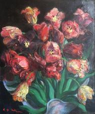 Georges Daniel KREBS - Painting - Bouquet de tulipes