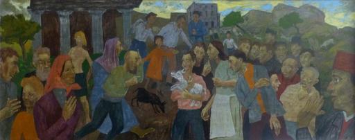 Grégoire MICHONZE - Gemälde - Village Meeting with a Neo-Classical Facade