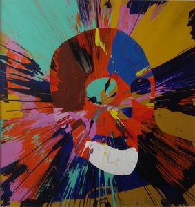 "Damien HIRST - Painting - ""Beautiful spin skulll"""