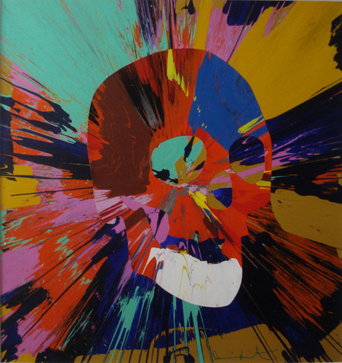 "Damien HIRST - Pittura - ""Beautiful spin skulll"""
