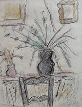 Bela Adalbert CZOBEL - Dibujo Acuarela - Flowers in an Interior