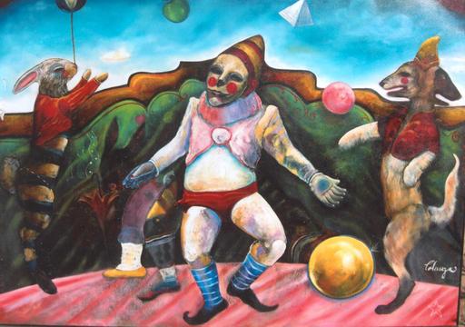 Alejandro COLUNGA - Pintura - Malabarista Haciendo su Acto Sobre un Helado